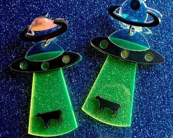 UFO Alien Abduction Cow Acrylic Laser Cut Dangle Earrings