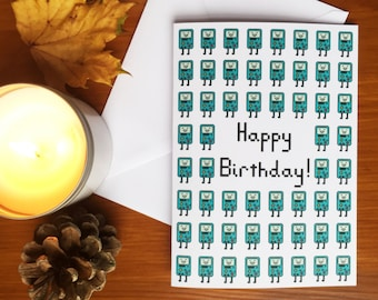 Adventure Time BMO Inspired Birthday Card - With Personalisation Option