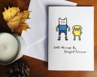 Adventure Time Jake and Finn Hand Made Greetings Card - With Personalisation Option