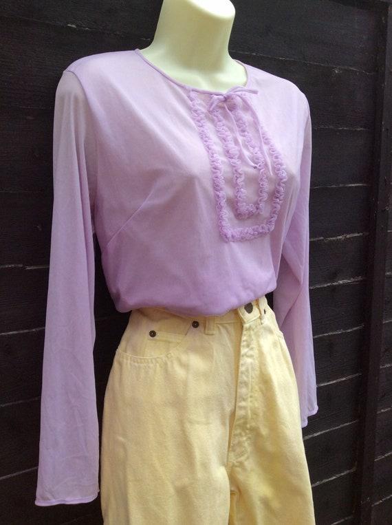 Pretty Vintage 1960s Pastel Lilac purple Blouse T… - image 3