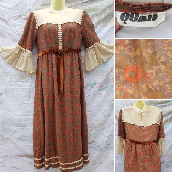 Amazing 1960s/1970s Maxi Dress Quad Brown ditsy Fl