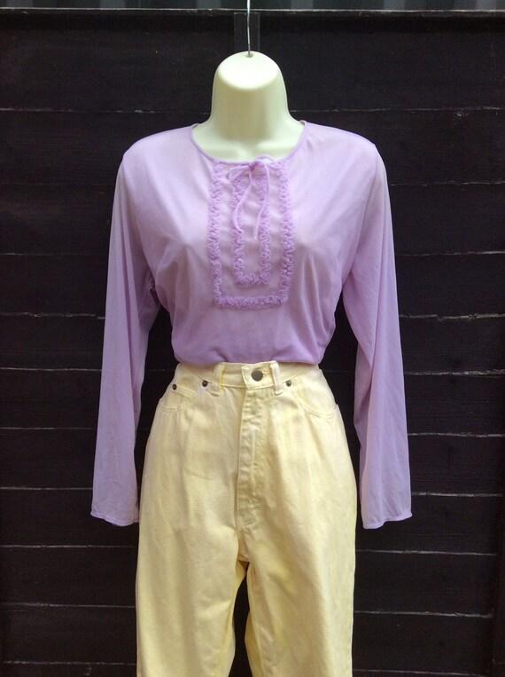 Pretty Vintage 1960s Pastel Lilac purple Blouse T… - image 1