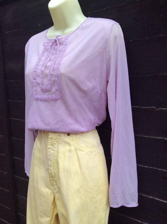 Pretty Vintage 1960s Pastel Lilac purple Blouse T… - image 5