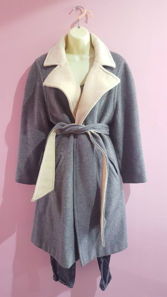 Vintage 1970S Mono London Mohair Wool Belted Wrap