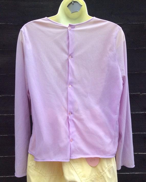 Pretty Vintage 1960s Pastel Lilac purple Blouse T… - image 6