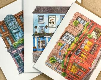 Irish Pubs 3 PACK Irish Pubs Art Card Set Andie Laf Designs Blank Watercolour Art Greeting Card with Kraft Envelope