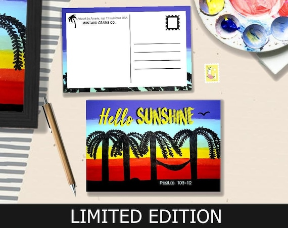 Palms at Sunset LIMITED EDITION Postcard - Artwork by Amerie