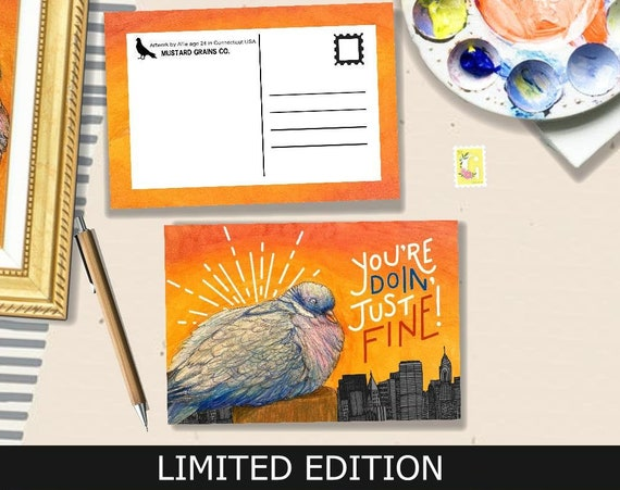The Pigeon LIMITED EDITION Postcard -Artwork by Allie