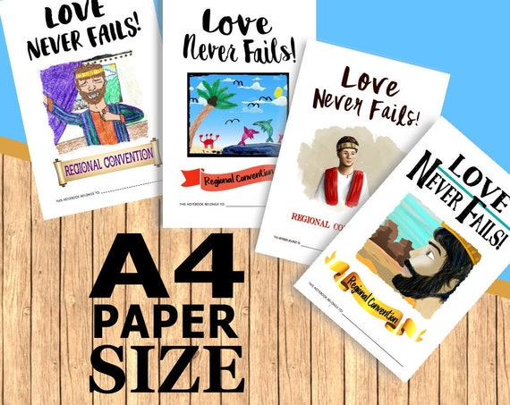 A4 Paper Size Format PACKAGE DEAL -Love Never Fails! (4 Printable Children's Convention Notebooks) DIGITAL pdf File