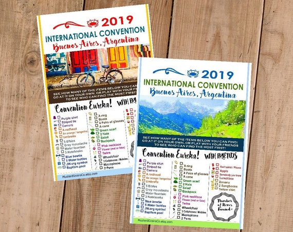 ARGENTINA International Convention (JW) Printable Convention Eureka Sheets