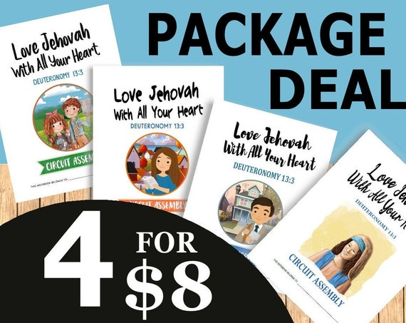 PACKAGE DEAL Download 8.5 x 11 Paper Size -Love Jehovah With All Your Heart! (4 Printable Children's Convention Notebooks) DIGITAL pdf File