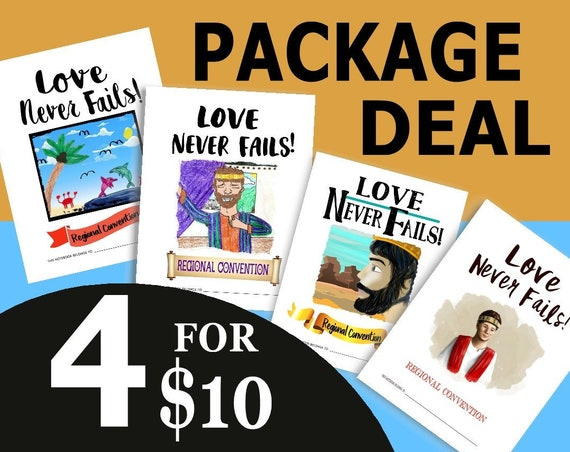 PACKAGE DEAL Download 8.5 x 11 Paper Size -Love Never Fails! (4 Printable Children's Convention Notebooks) DIGITAL pdf File