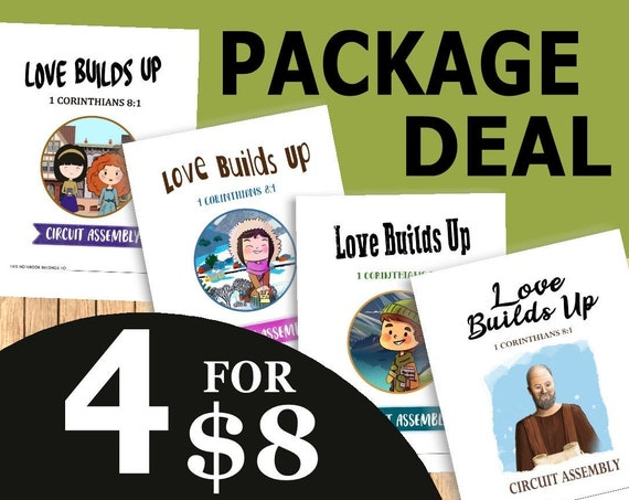 PACKAGE DEAL Download 8.5 x 11 Paper Size -Love Builds Up! (4 Printable Children's Convention Notebooks) DIGITAL pdf File