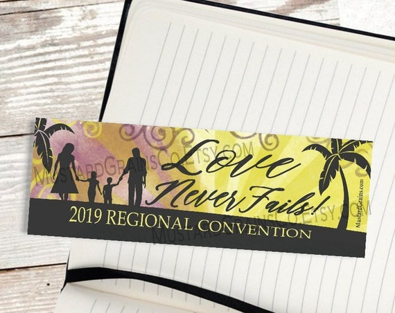 Paradise Beach at Sunset ~ Love Never Fails ~ Printable Bookmark ~ JW 2019 Convention