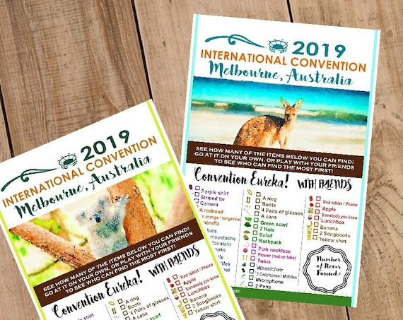 AUSTRALIA International Convention (JW) Printable Convention Eureka Sheets