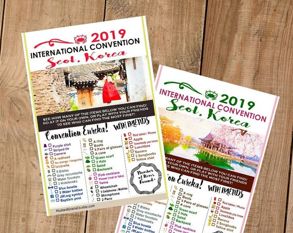 KOREA International Convention (JW) Printable Convention Eureka Sheets