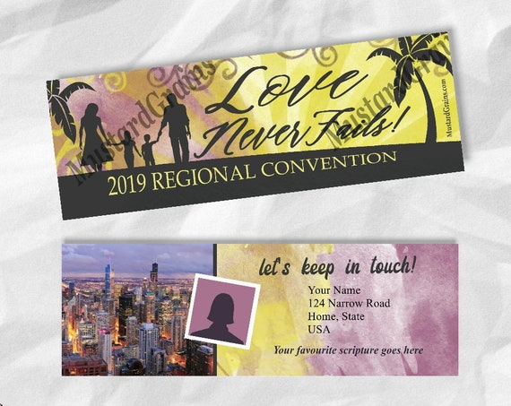 CUSTOM Front & Back Paradise Sunset Bookmarks ~ Love Never Fails ~ Printable Bookmark ~ JW 2019 Convention
