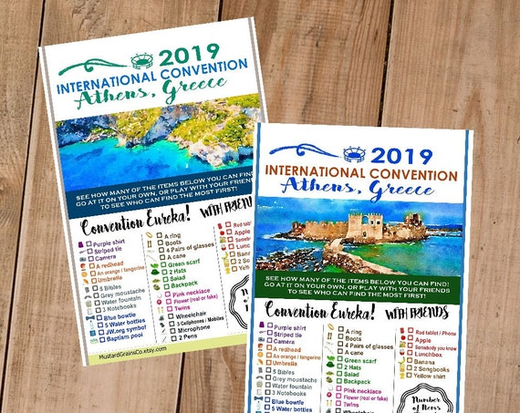 GREECE International Convention (JW) Printable Convention Eureka Sheets
