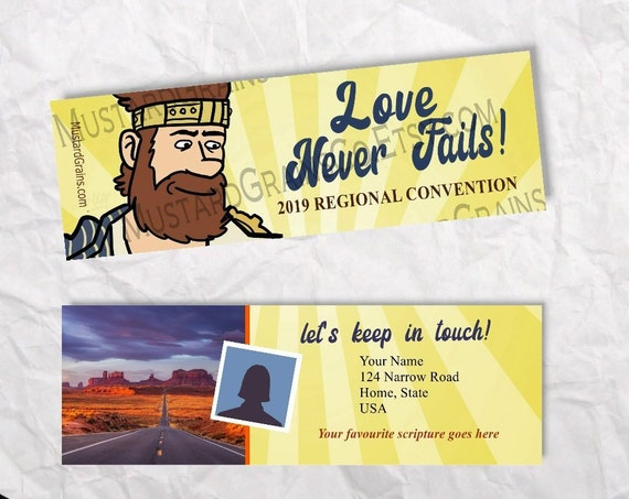CUSTOM Front & Back Josiah Bookmarks ~ Love Never Fails ~ Printable Bookmark ~ JW 2019 Convention