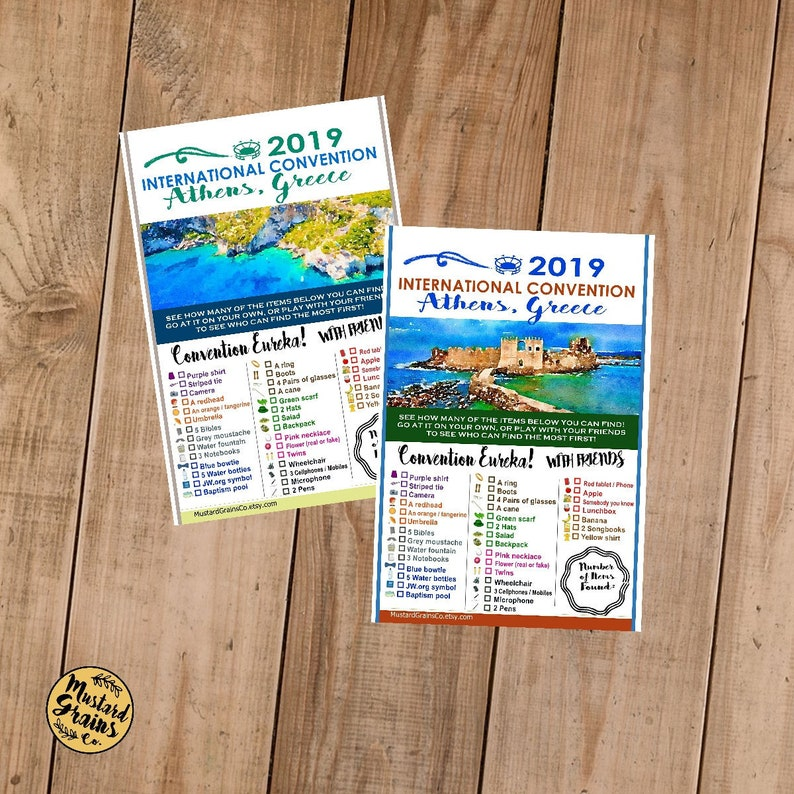 GREECE International Convention (JW) Printable Convention Eureka Sheets
