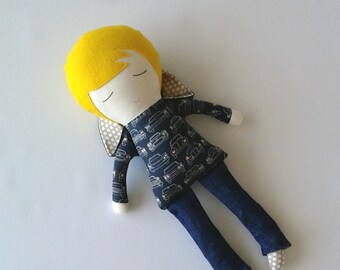 Fabric BOY Doll with Blond Hair