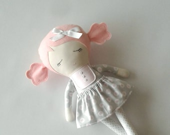 Fabric Doll with Pink Hair