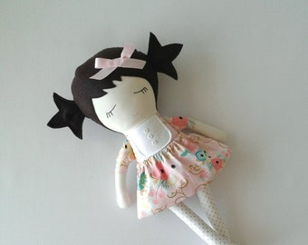 Fabric Doll with Dark Brown Hair