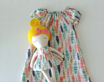 5T Dress and Fabric Doll with Blond Hair // Ready to Ship