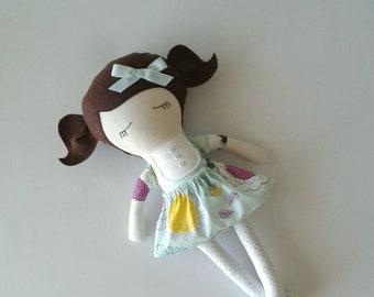 Fabric Doll with Brown Hair