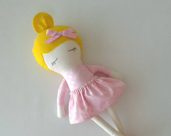 Fabric Doll with Blond Hair and Moccasins