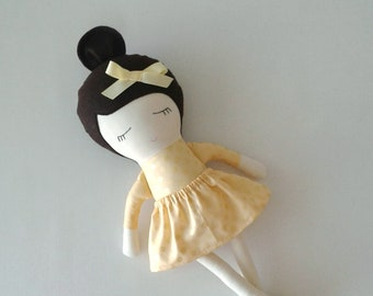 Fabric Doll with Dark Brown Hair and Moccasins