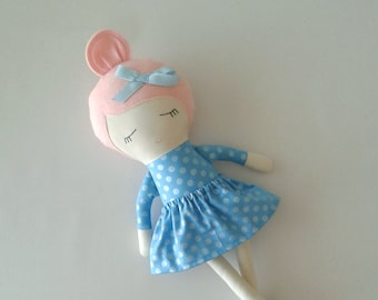 Fabric Doll with Pink Hair and Moccasins
