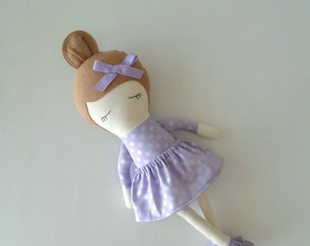 Fabric Doll with Light Brown Hair and Moccasins