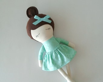 Fabric Doll with Brown Hair and Moccasins