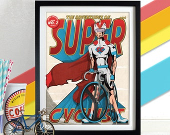 Male Super Cyclist Comic superhero Book Style Poster Wall Art Print Home Décor for bike, bicycle lovers. Perfect for Fathers day.