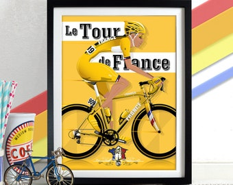 Tour De France Poster Wall Art Hanging Print Home Décor bicycle bike race Grand Depart cycling yellow jersey