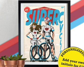 Super Cyclists Comic Book Superhero superheros Bicycle, Bicycles, Bike, Bikes, cycling, cycle, Poster Wall Art Hanging Print Home Décor