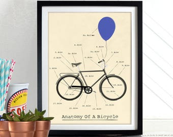 Anatomy Of A Bicycle, Bike bikes, cycling Poster Wall Art Print Home Décor