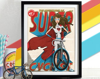 Female Super Cyclist Comic superhero Book Style Poster Wall Art Print Home Décor for bike, bicycle lovers. Perfect for Mother's day.