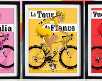 Tour De France Giro D'Italia Vuelta a España Cycle race Grand Tour Bicycle Bike Race Poster Wall Art Print Home Décor cycling, cycle