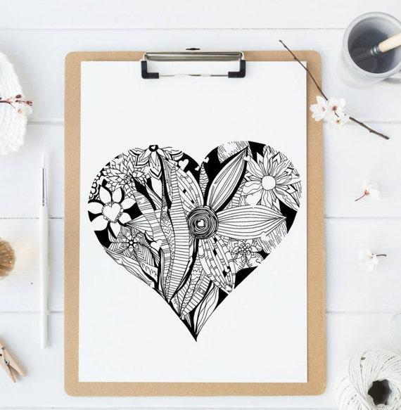 Malvorlagen Herzen handgezeichnete Herz mit Blumen und | Etsy