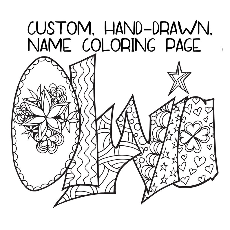 DIGITAL** Custom Coloring Page - Purchase this item and include a note with  the name or word you'd love  JPG & PDF