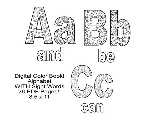 LETTERS Coloring Pages 26 Coloring Pages 8.5x11 Uppercase Etsy