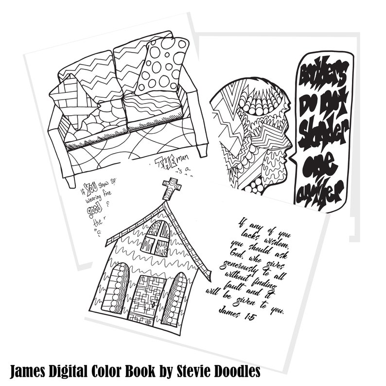 James Coloring Book, Colorful Worship, 19 Christian Coloring Pages Inspired  By The Book Of James, Printable PDF, Bible, Scripture