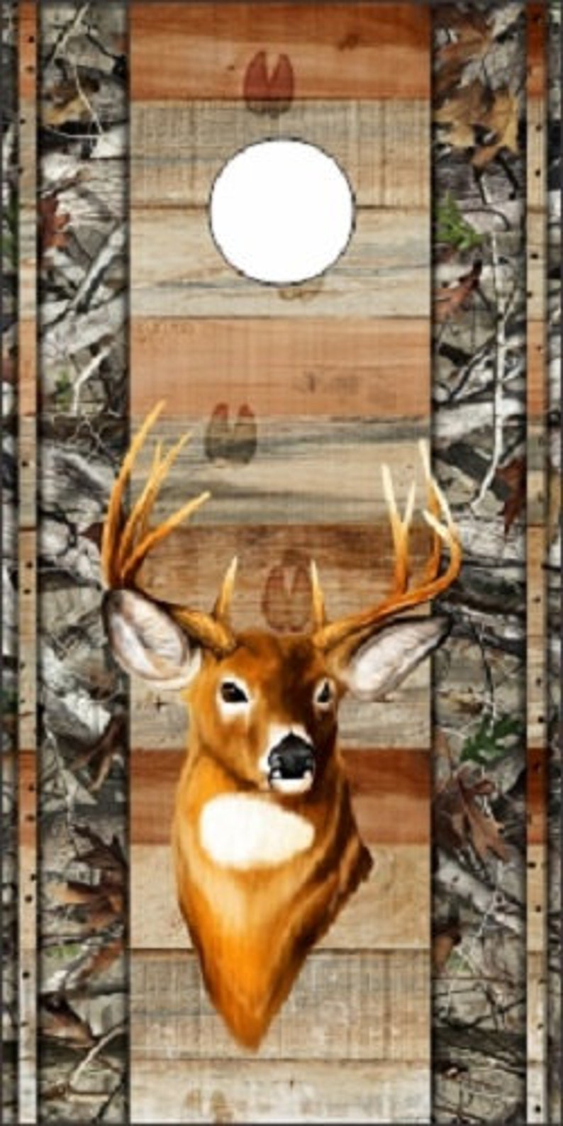 Custom Made Cornhole Wraps  Skins to apply to your own boards Deer Buck Hunter With Camo Design