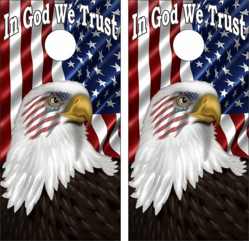 American Flag With Eagle Design In God We Trust Custom Made Cornhole Wraps  Skins to apply to your own boards