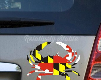 Maryland Flag Decals-crab, anchor, horse, buck, seahorse softball, Maryland Crab decal, Maryland Pride decal