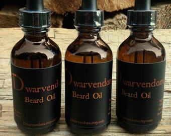 Dwarvendom Beard Oil nourishing all natural organic beard oil with apricot kernel oil grapeseed oil castor oil and essential oils beard