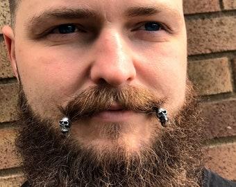 Dwarvendom Skull Beard Bead Kit STAINLESS STEEL Viking beard rings skull ring goth norse mens jewelry