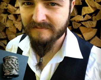 Dwarvendom Beard Bead Kit Gunmetal beard rings TIBETAN ALLOY gray black viking beard bead pirate norse mens beard kit